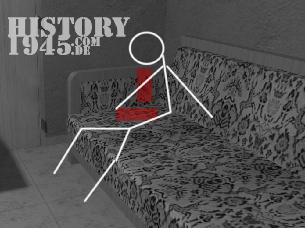 Hitlers Leiche auf dem Sofo in seinem Arbeitszimmer